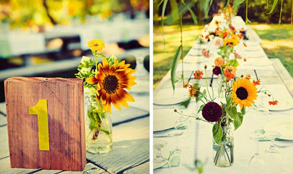 Bàn tiệc cưới trang trí hoa hướng dương
