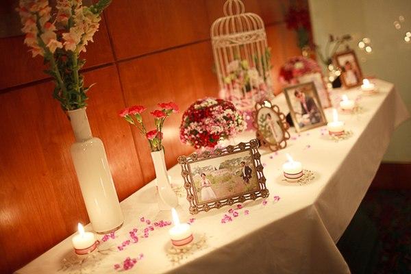 trang trí tiệc cưới bằng nến