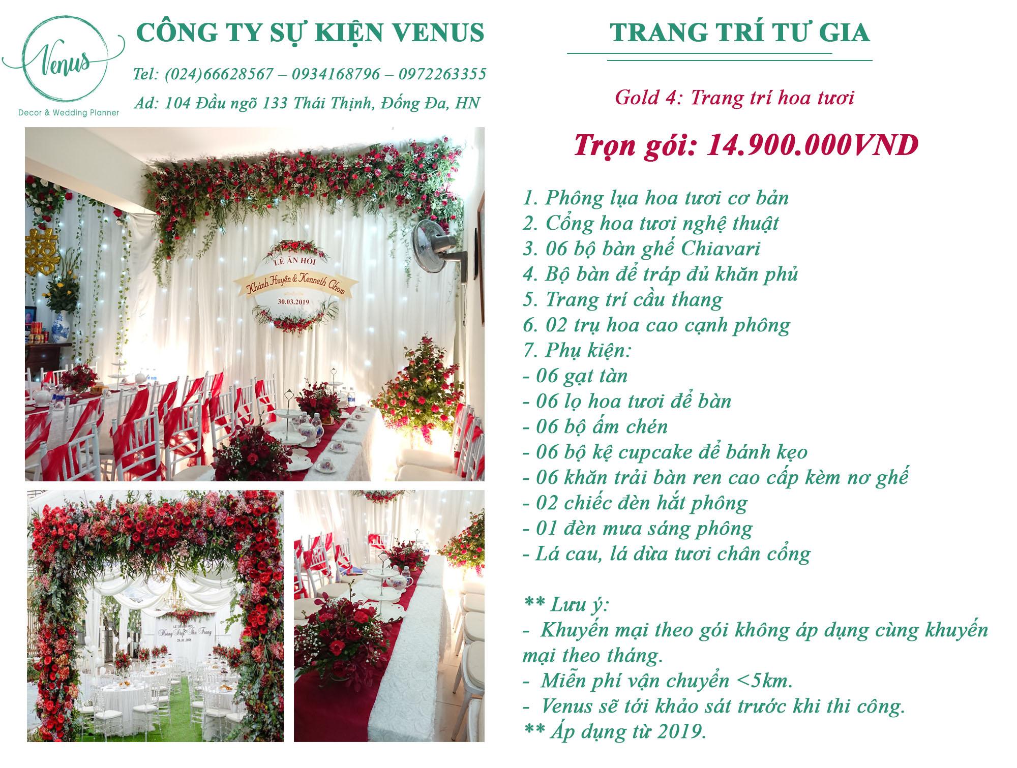 giá trang trí tiệc cưới tại nhà