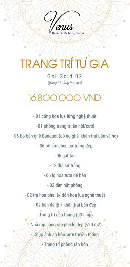 Giá trang trí tiệc cưới tại nhà gói Gold 02