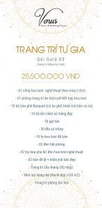 Giá trang trí tiệc cưới tại nhà gói Gold 03