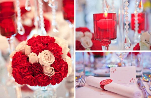 Trang trí tiệc cưới màu đỏ