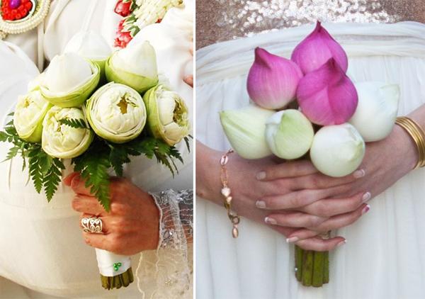 Hoa cầm tay cô dâu bằng hoa sen