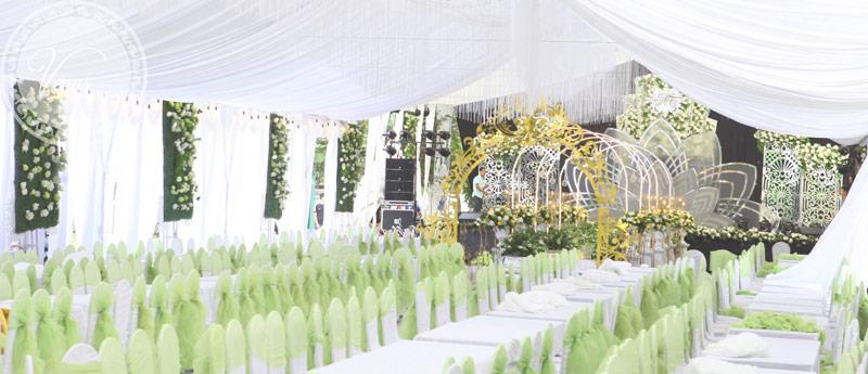 Bàn tiệc cưới tiếp khách tông màu xanh cốm trắng