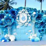 Backdrop đám cưới màu xanh nước biển