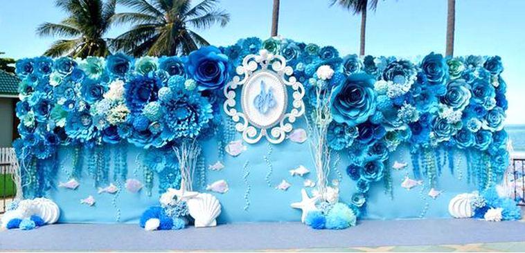 trang trí tiệc cưới màu xanh