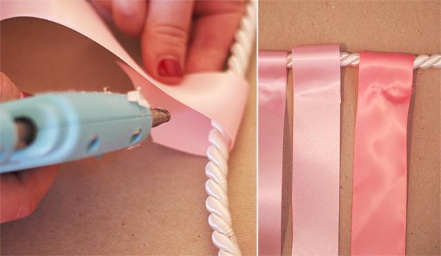 Cách làm backdrop đám cưới dây ruy băng bước 2